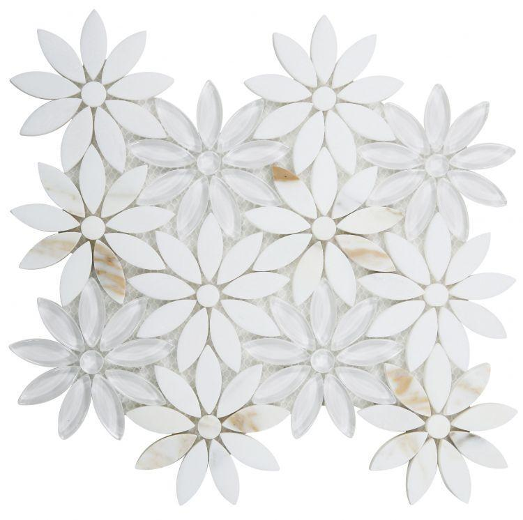 Daisy Calacatta Flower  Glass  Mosaic