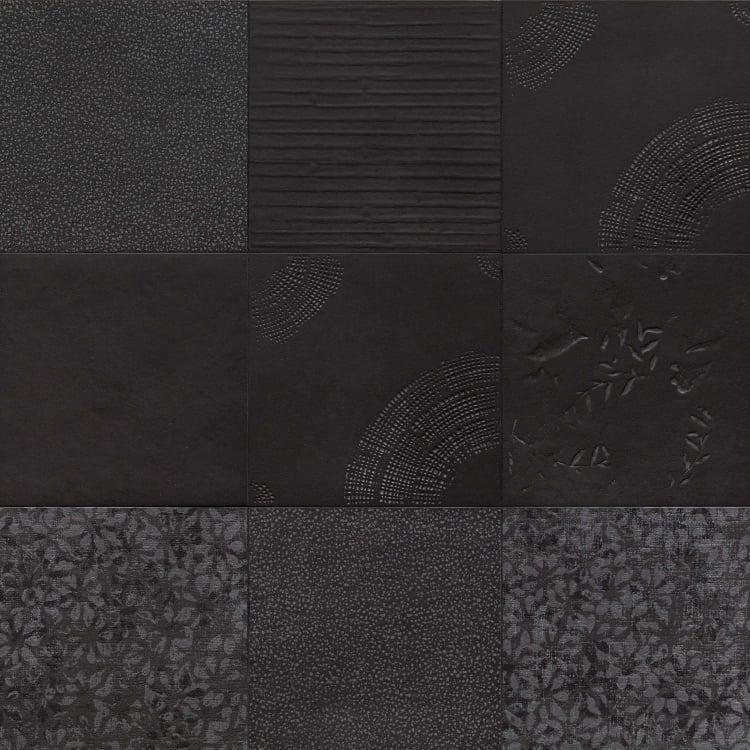 Chymia Black Mix 1 12x12, Glazed, Square, Porcelain, Tile