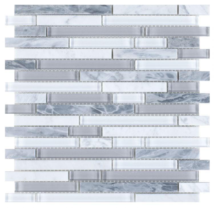 Linear Glass Montage Grey Mosaic