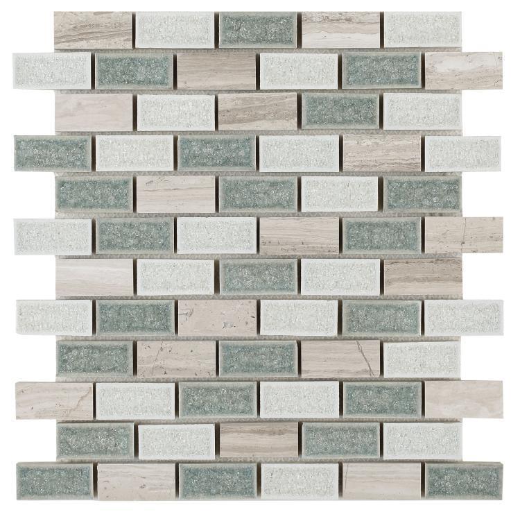 Jewel Swiss Blue Brick  Glass  Mosaic