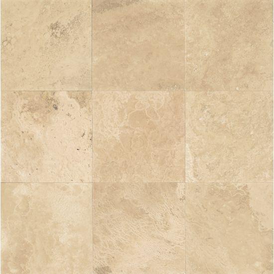 Aymaran Cream Travertine Tile 18x18 Honed   0.38 in