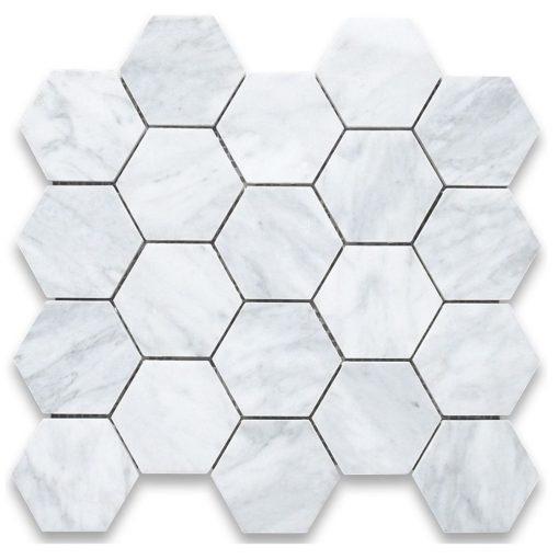 Carrara White 2x2 Hexagon Honed Marble  Mosaic