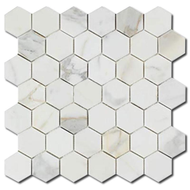 Calacatta Gold 2x2 Hexagon Honed Marble  Mosaic
