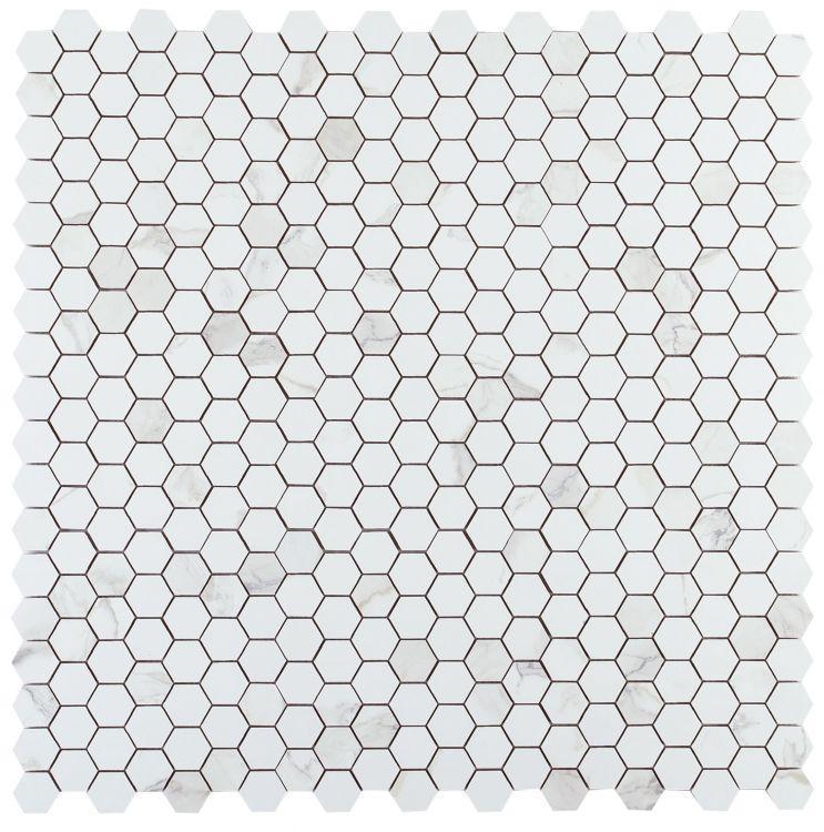 Calacatta Dorado 2x2 Hexagon Glazed, Matte Porcelain  Mosaic