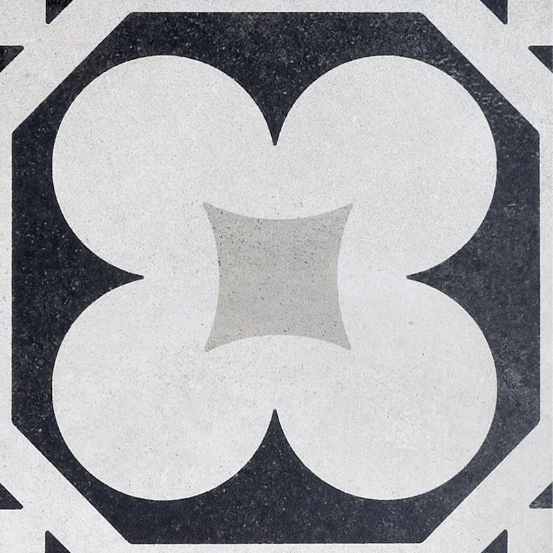 Cementine Black And White B W 4 8x8, Glazed, Porcelain, Tile