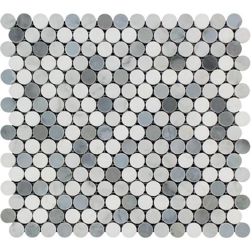 Marble Thassos White W Carrara Grey Pennyround Polished   Mosaic