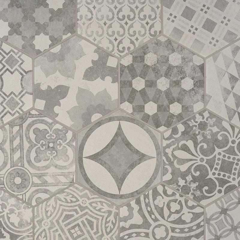 Porcelain Tile Kenzzi Mixana 7x8, Matte, Light Grey, Hexagon