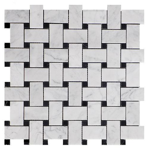 Marble White Carrara Basketweave W Black Dot Honed   Mosaic