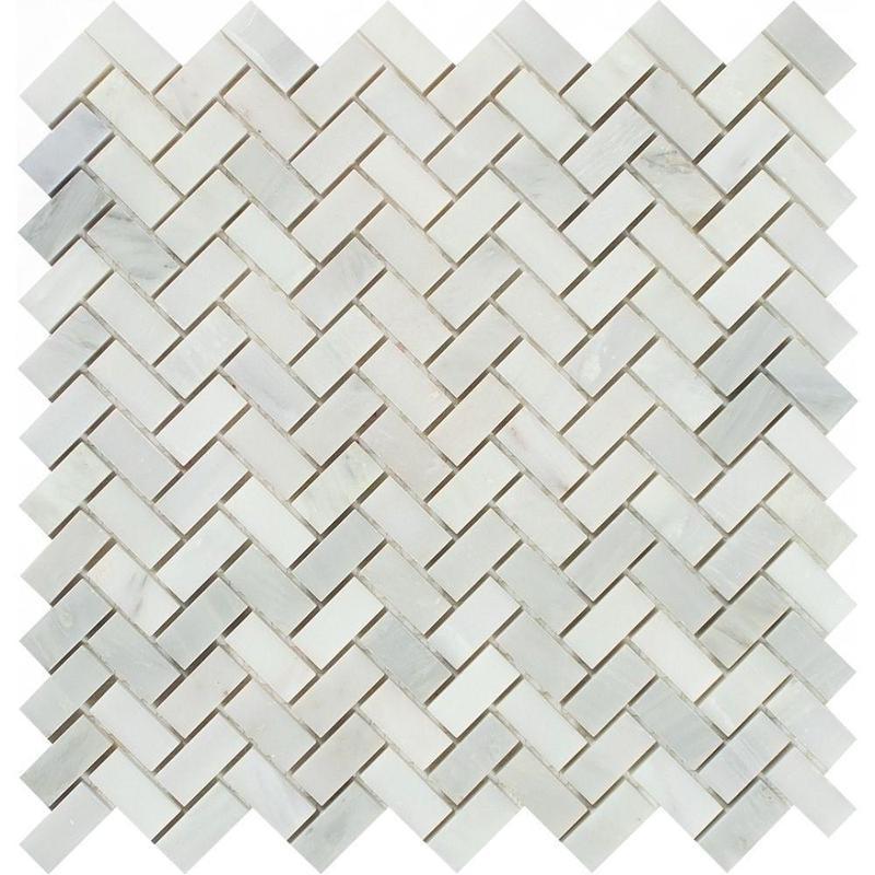 Marble Oriental White 0.63x1.25 Herringbone Polished   Mosaic