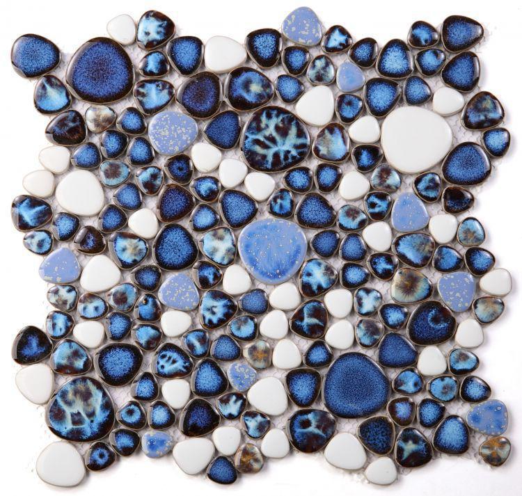 Growing Royal Blue Pebble  Porcelain  Mosaic