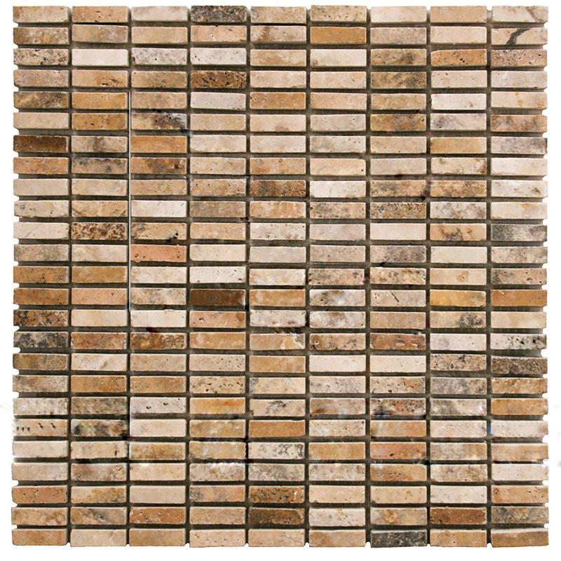 Scabos Travertine 0.62x2 Stripe Tumbled   Mosaic