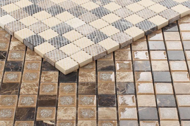 Jewel Cappuccino 1x1 Square  Glass  Mosaic