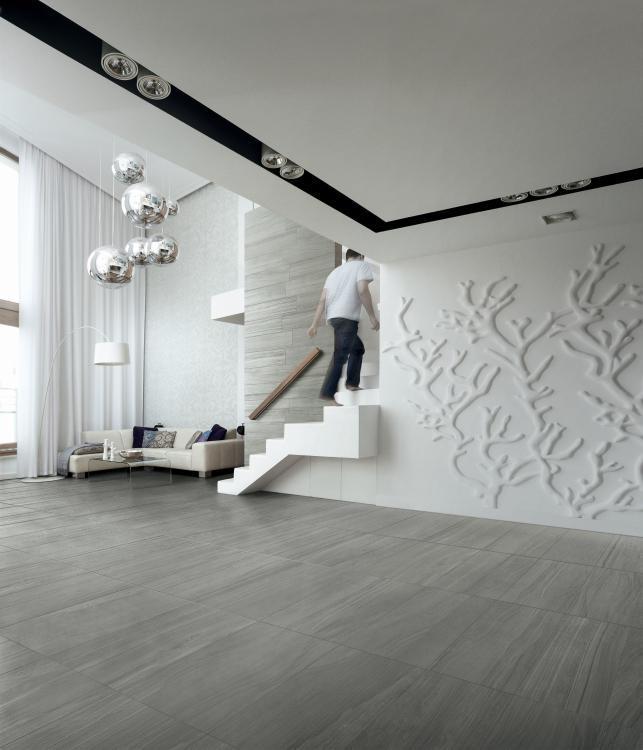 Artwork Acciaio Matte, Unglazed 18x36 Porcelain  Tile