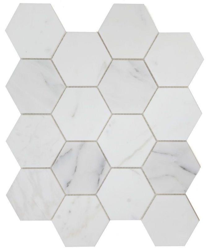 Hexagon Calacatta White 3x3  Polished Marble  Mosaic