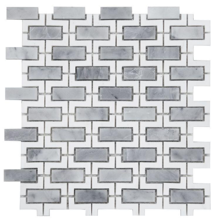 Louvre Aztec Dusk Brick Polished Marble  Mosaic