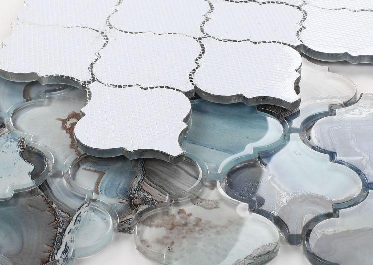 Shell Aladdin Blue Arabesque Glossy Glass  Mosaic