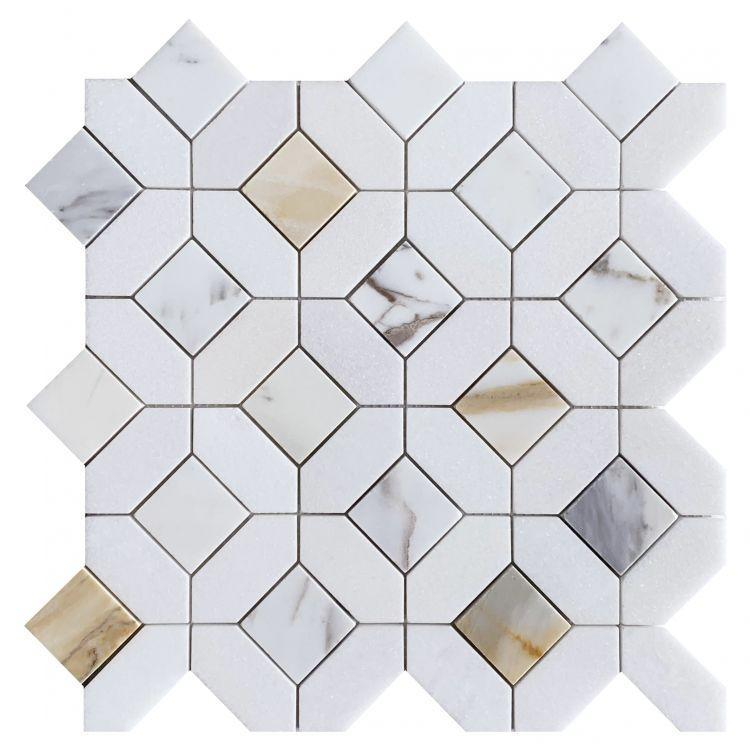 Eclipse Calacatta Gold Hexagon Polished Marble  Mosaic