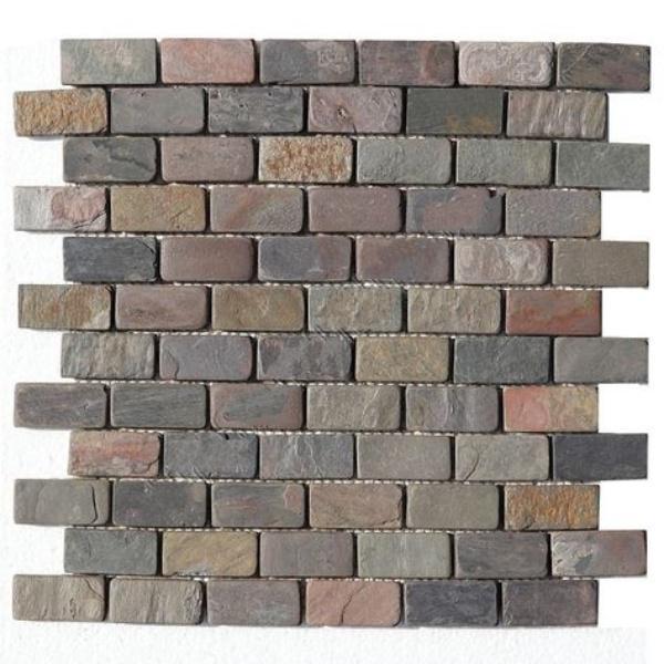 Slate Quartzite Sandstone Multi Color Indian 1x2 Brick Tumbled   Mosaic (Discontinued)