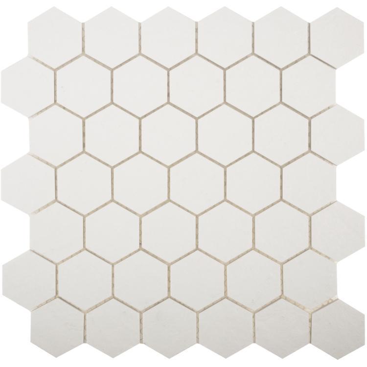 White Tile Super Stone 2x2 Hexagon  Porcelain  Mosaic
