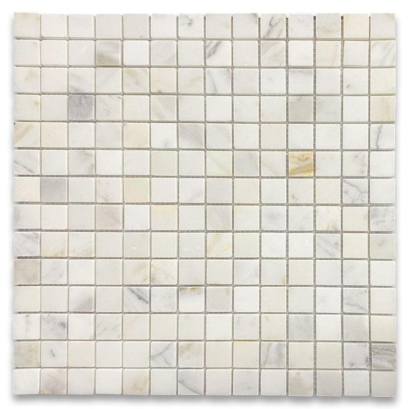 Calacatta Gold 5/8x5/8 Square Honed Marble  Mosaic