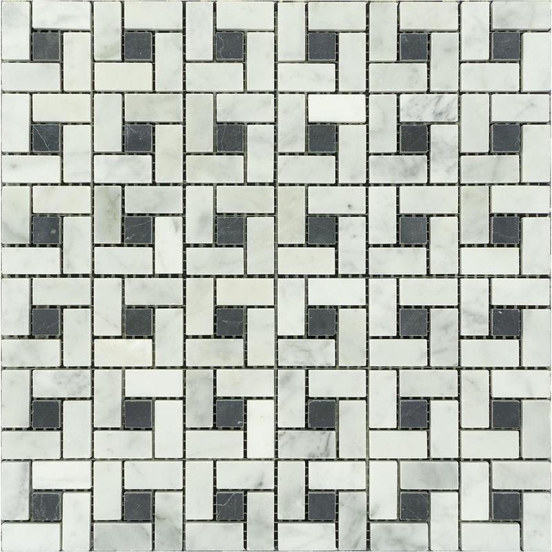 Marble White Carrara W Black Dot Pinwheel Polished   Mosaic