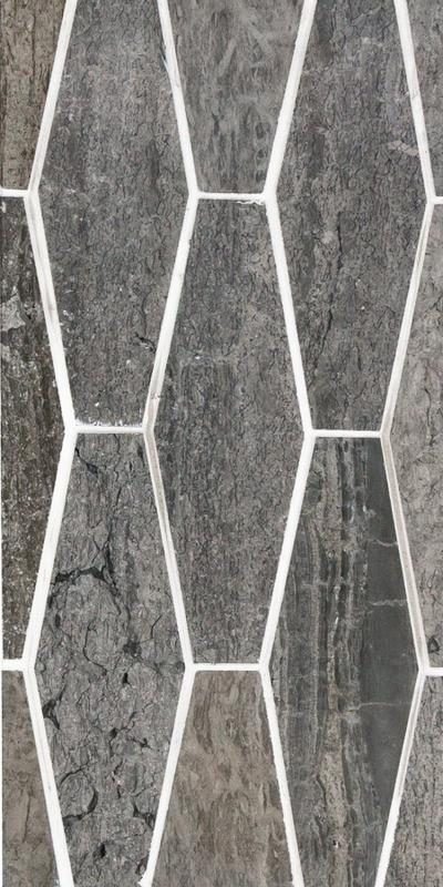 Sto Re Wooden Blue 2x6 Elongated Hexagon Polished Natural Stone  Mosaic