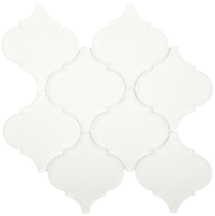 Arabesque White Frosted Glass  Mosaic