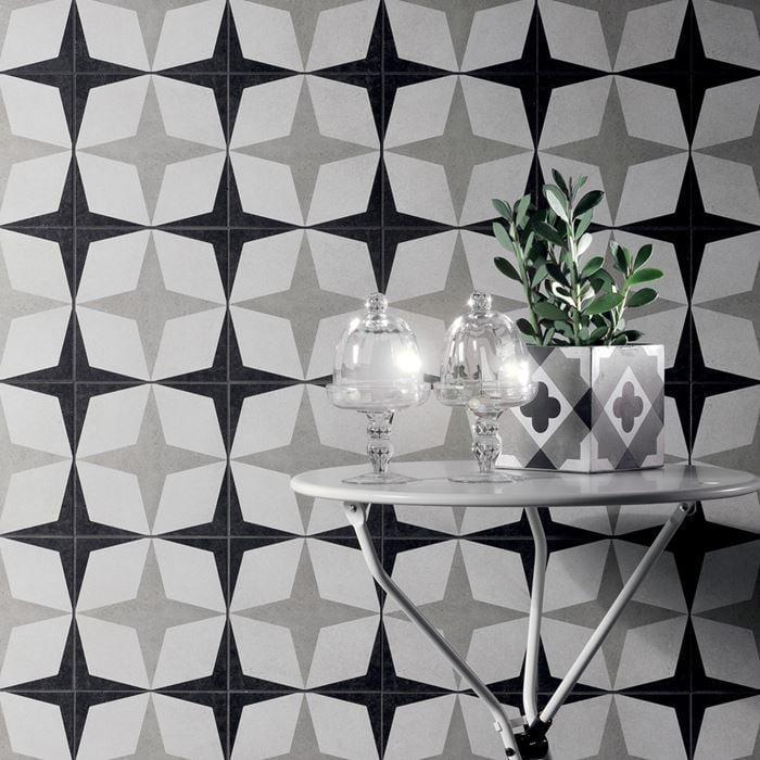 Cementine Black And White B W 1 8x8, Glazed, Porcelain, Tile