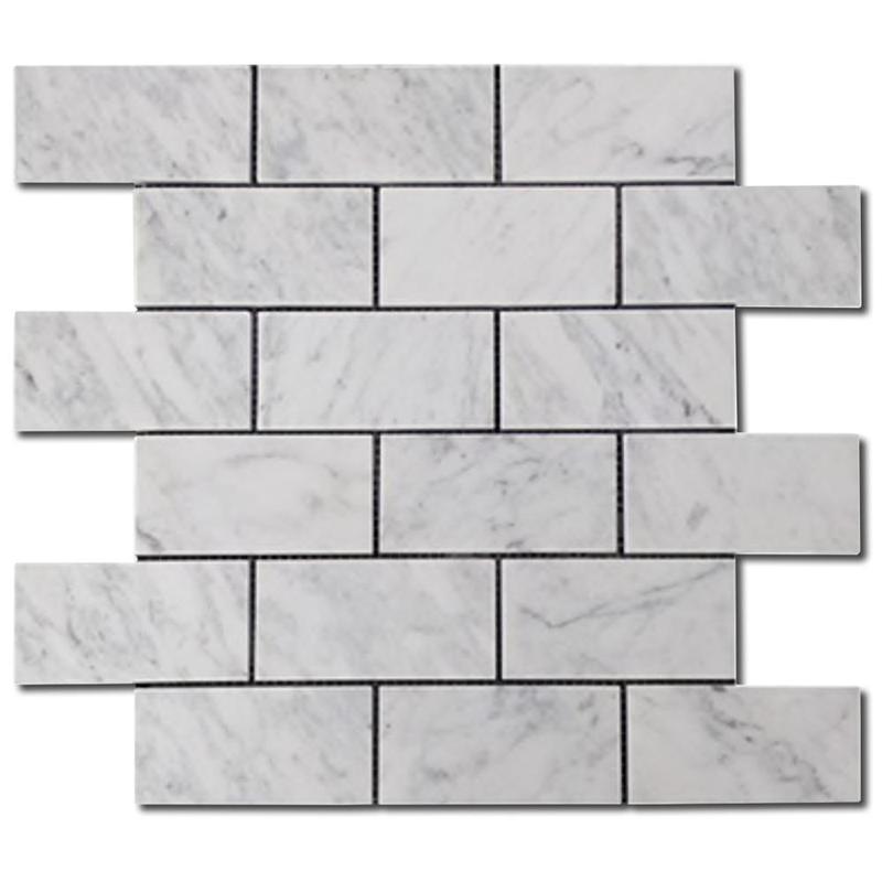 Carrara White 2x4 Brick Honed Marble  Mosaic