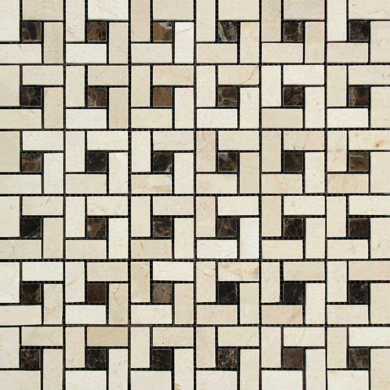 Marble Crema Marfil Pinwheel Polished   Mosaic