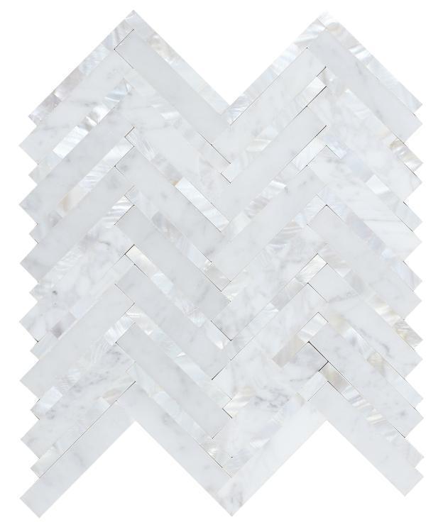 Diana Carrara Herringbone  Pearl  Mosaic