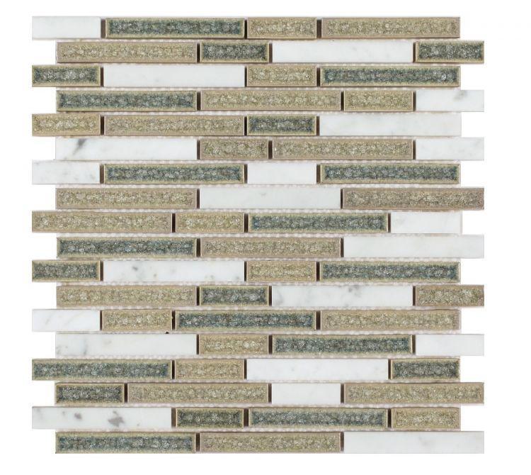 Jewel Blue Stack Crackle Glass  Mosaic