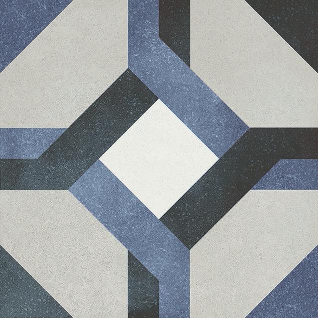 Fluer Laure 6x6, Glazed, Blue, Gray, White, Square, Porcelain, Tile