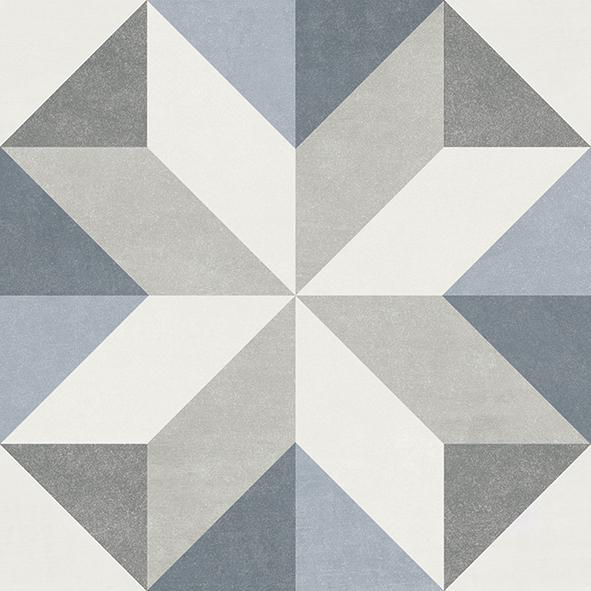 Fiore Gina 6x6, Glazed, Blue, Gray, White, Square, Porcelain, Tile