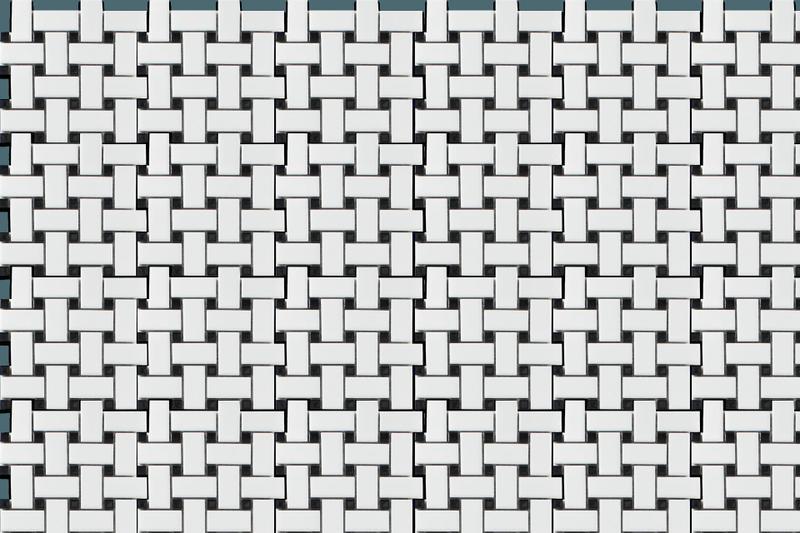 Porcelain Mosaics Basketweave W Black Dot 2x2  Matte   Mosaic