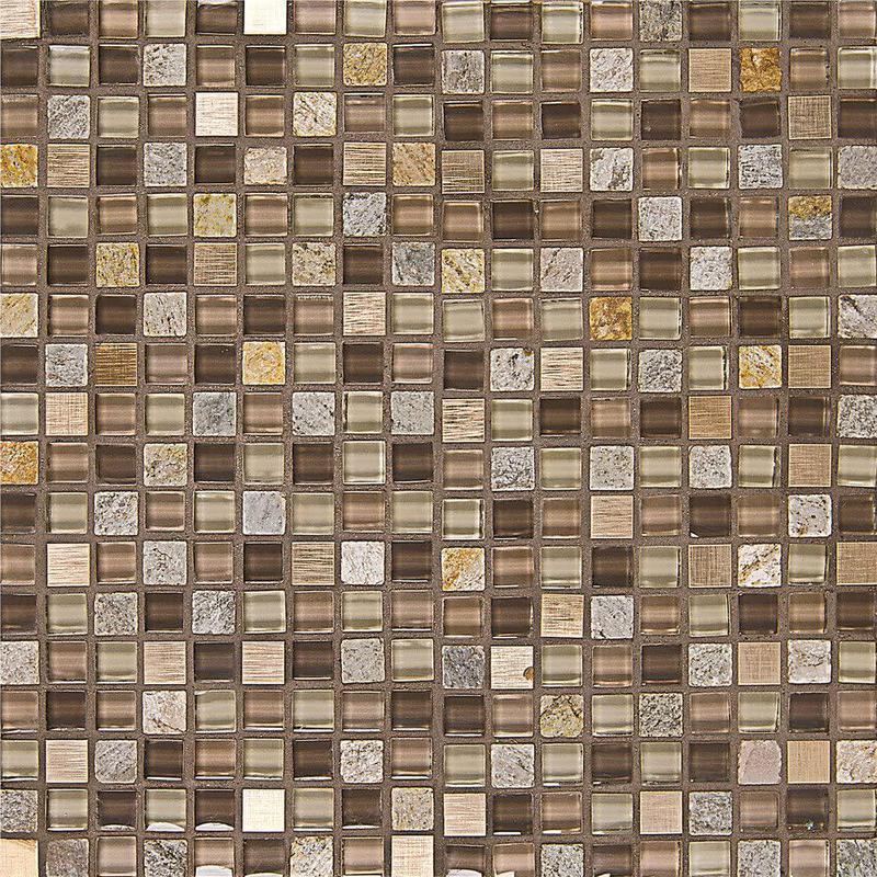 Elume Maple Rum 0.63x0.63 Square Glossy Glass  Mosaic (Discontinued)