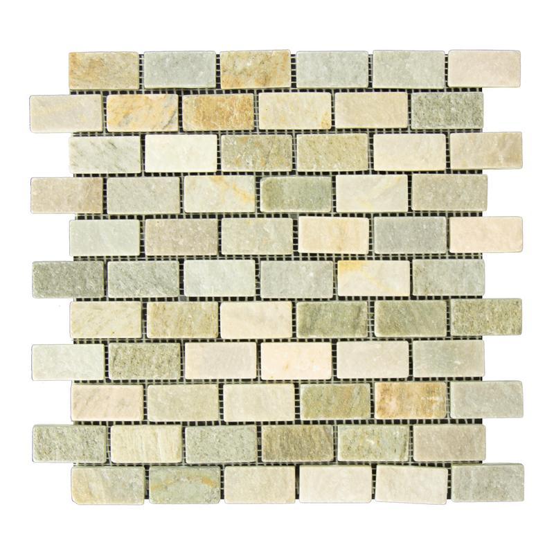 Slate Quartzite Sandstone Desert Gold Golden Ray 1x2 Brick Tumbled   Mosaic (Discontinued)