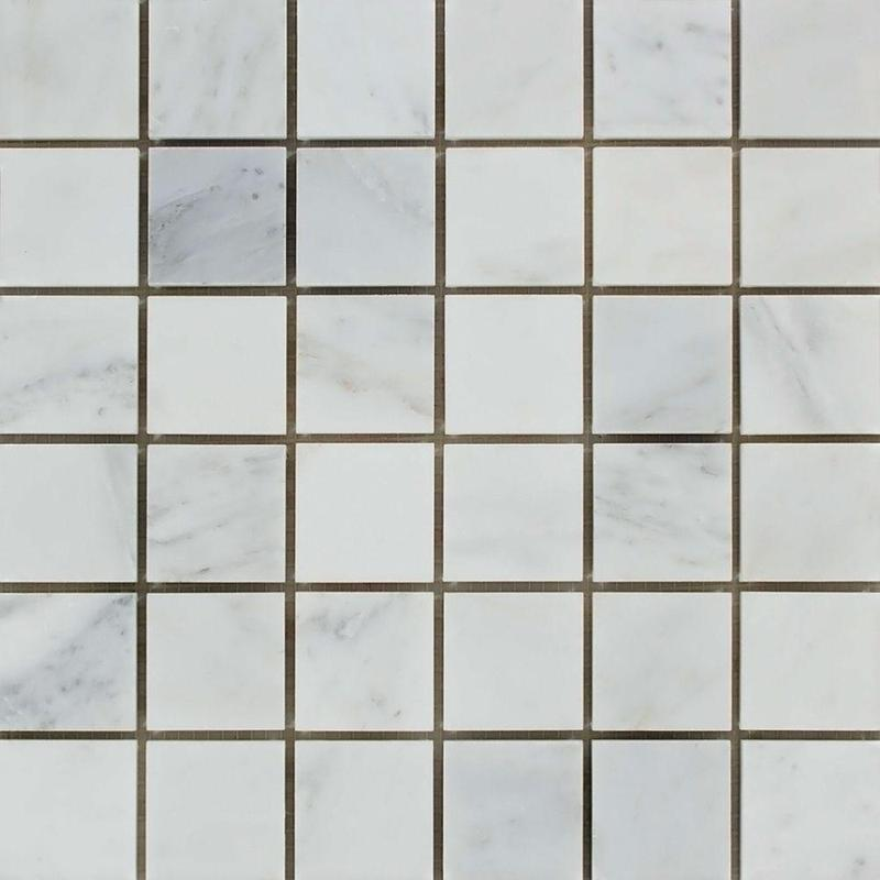 Oriental White Asian Statuary Marble 2x2 Square Honed   Mosaic