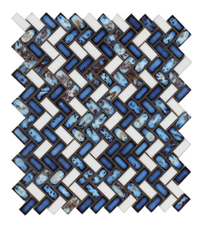 Tango Royal Blue Herringbone  Porcelain  Mosaic