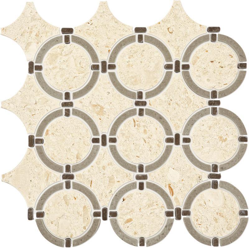 Raine Cumulus Grey Bld Honed, Linked-Ring, Marble, Mosaic