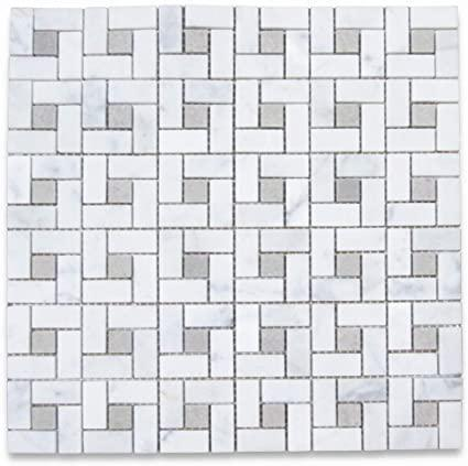Marble White Carrara W Grey Dot Pinwheel Honed   Mosaic