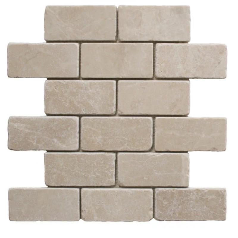 Marble Botticino Turkish 1x2 Brick Tumbled   Mosaic (Discontinued)
