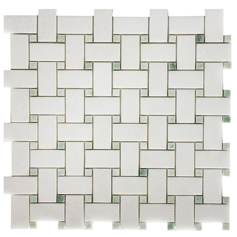Marble Thassos White Basketweave W Green Dot Polished   Mosaic
