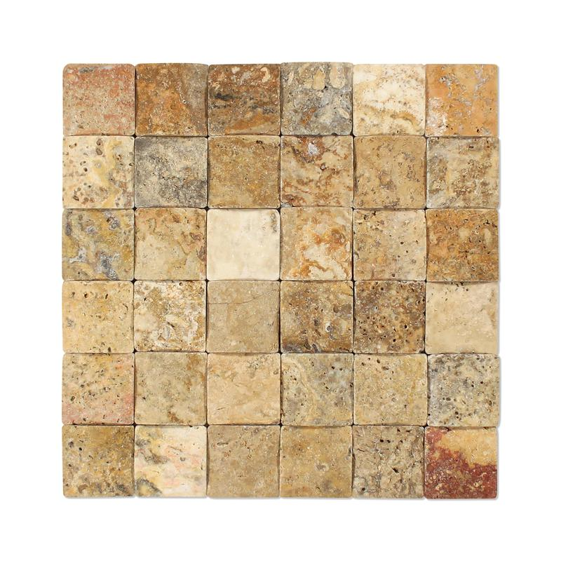 Scabos Tuscany 2x2 Wavy Tumbled Travertine  Mosaic (Discontinued)