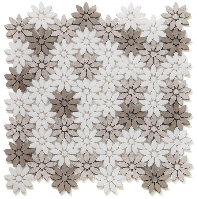 Daisy Wild Smoke Flower Polished Marble  Mosaic