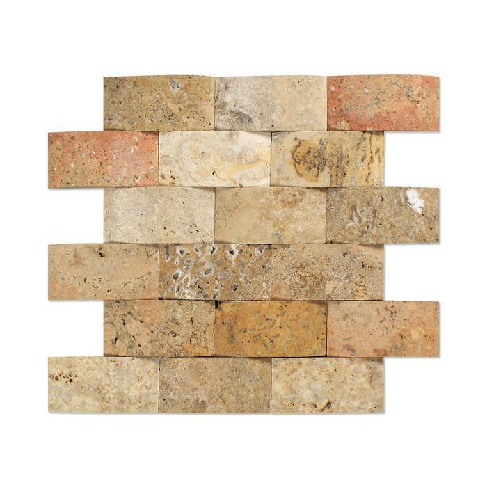 Scabos Tuscany 2x4 Wavy Tumbled Travertine  Mosaic (Discontinued)