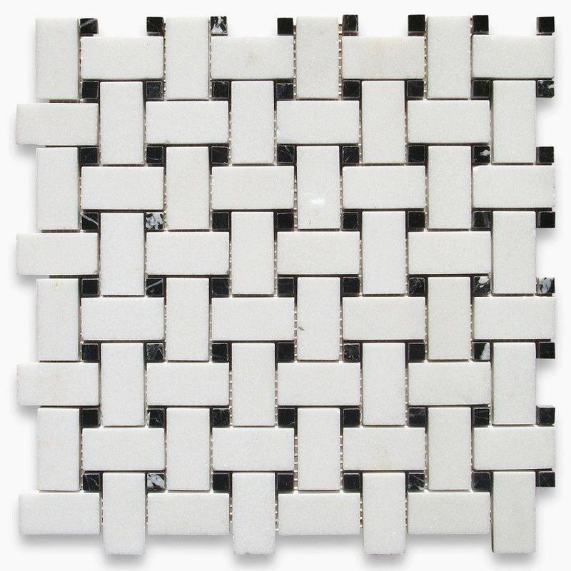 Marble Thassos White Basketweave W Black Dot Polished   Mosaic