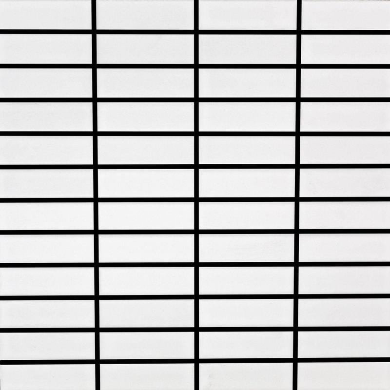 Porcelain Mosaic Grid White 2x4  Matte, Glazed