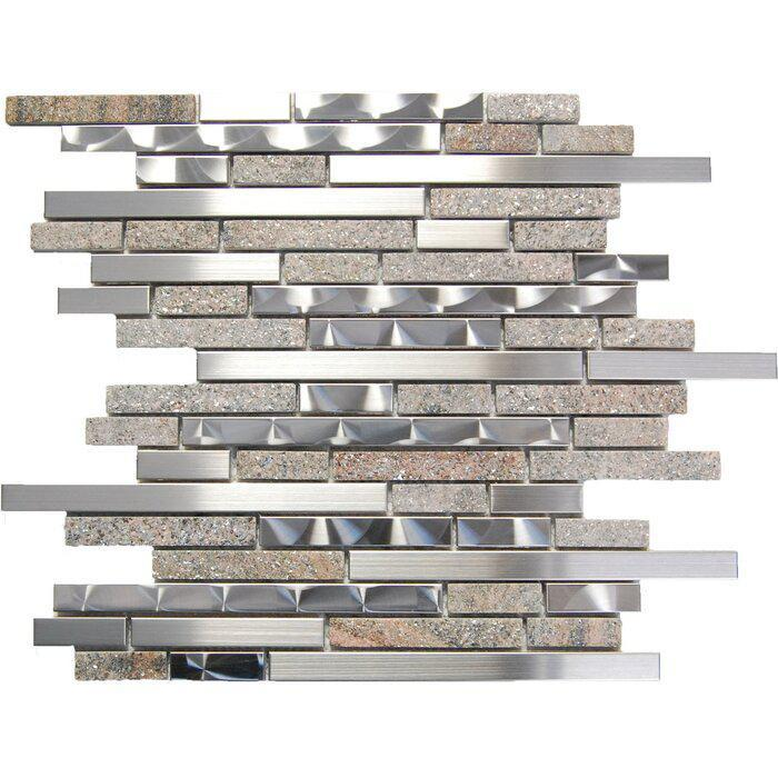 Stainless Steel Mosaic Brown Stone Linear Mix Mixed