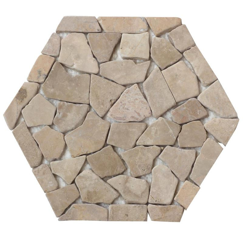 Pebble Mosaics Hexagon Cappuccino Matte   Mosaic
